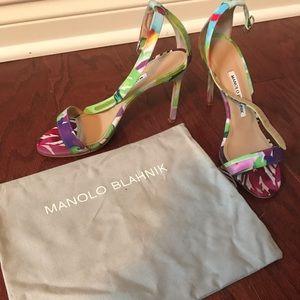 Manolo Blahnik ankle strap colorful heels